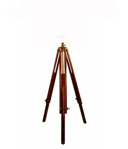 Large Stained Rosewood Brass Tripod Lamp Stand