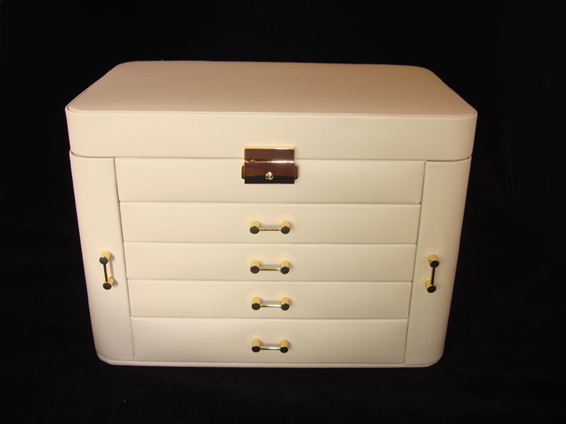 Large Ivory Leather Jewellery Armoire Box