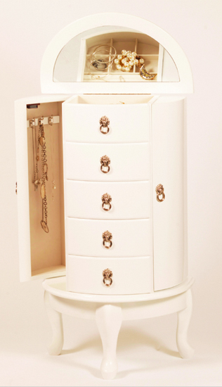 White Jewellery Armoire Cabinet