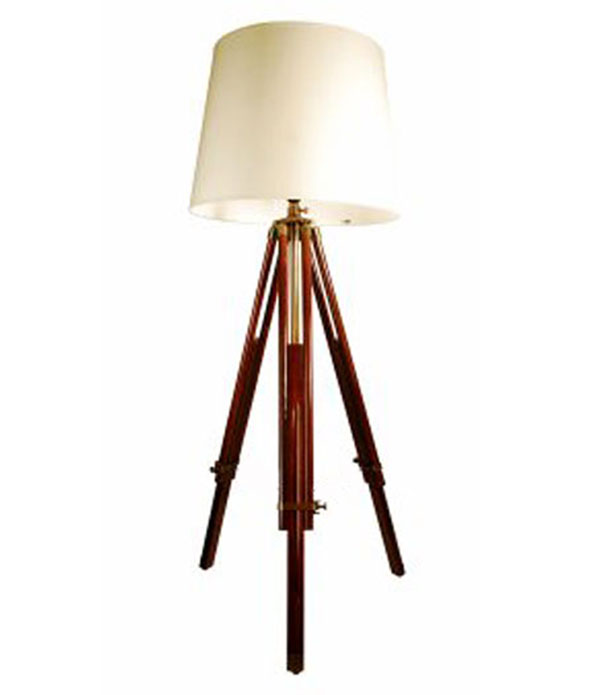 tall wooden tripod floor lamp stand telescopic legs in natural with. Black Bedroom Furniture Sets. Home Design Ideas