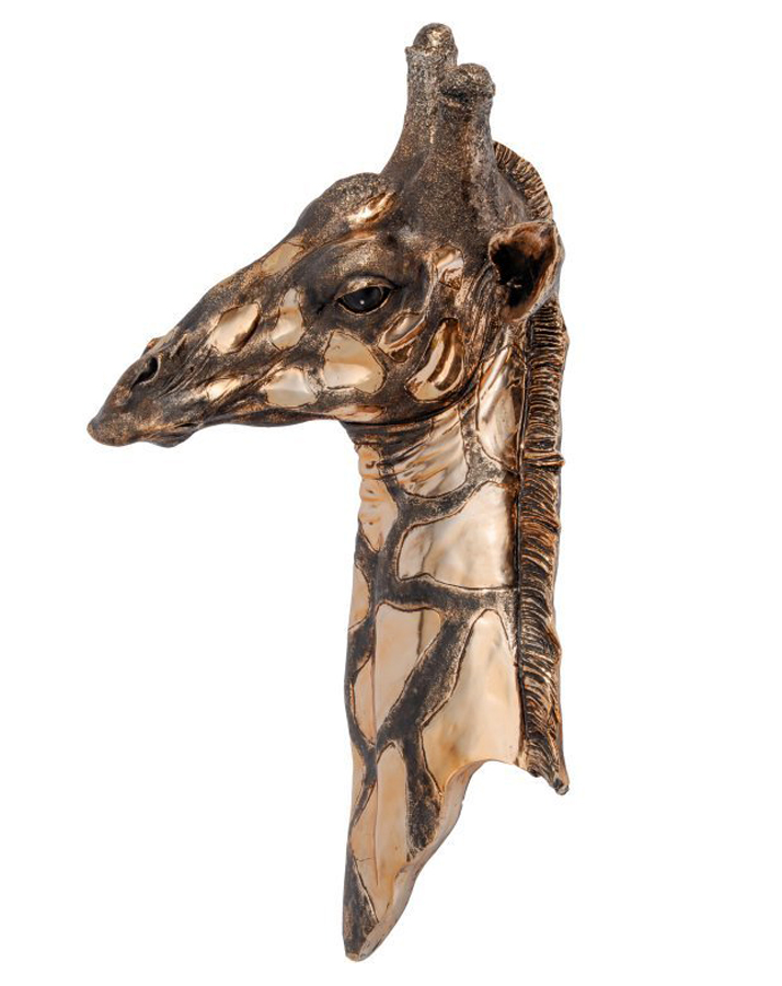 3D Bronze Giraffe Head Wall Hanging Plaque