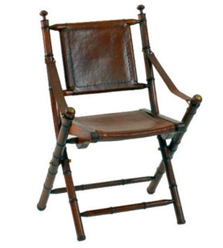 Campaign Folding Teak Leather Chair