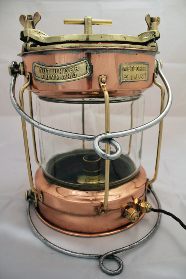 Vintage Copper & Brass Not Under Command Lamp