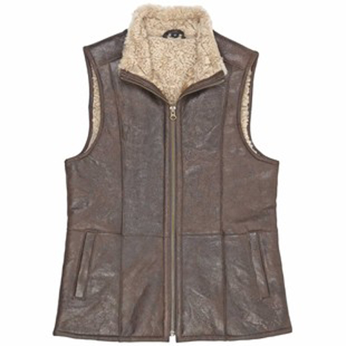 Ladies Aviator Style Sheepskin Gilet