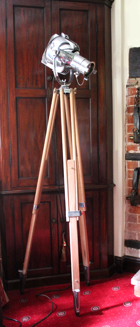 Vintage Strand PATT 23 Theatre Light on Surveyors Tripod