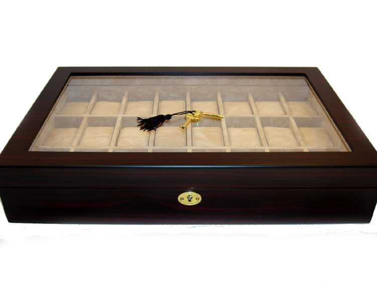 24 Watch Display Case Ebony Coromandel