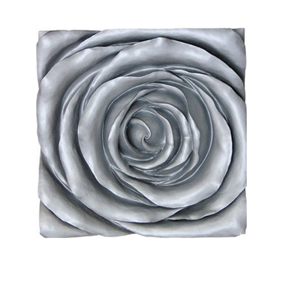 Large 3D Silver Rose Plague