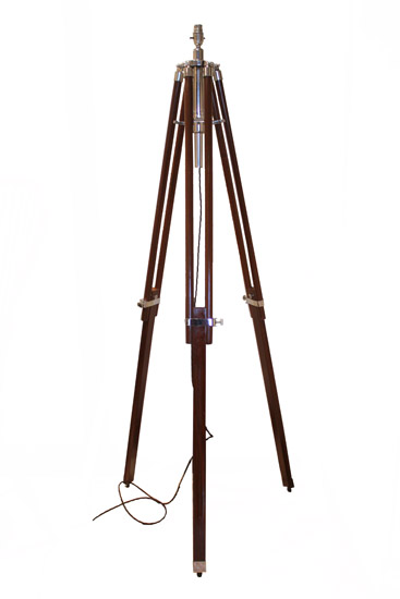Stained Teak Tripod Floor Lamp