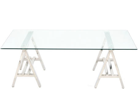 A Frame Stainless Steel Console table with Glass Top