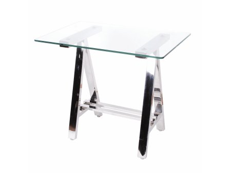 A Frame Stainless Steel Side Table with Glass Top