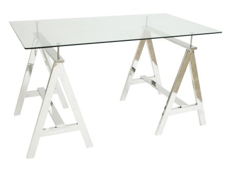 A Frame Stainless Steel Table with Glass Top